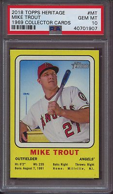 2018 Topps Heritage 1969 Collector Cards Mt Mike Trout Target Psa 10