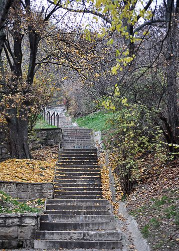 Stair to Citadel - Gellert Hill, Budapest, Hungary - Walking there in the dark I couldn't help but feel like Smeagol was leading us up the winding stair to Shelob's lair. This way precious!