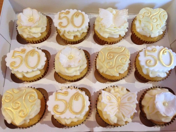 50th aniversary cupcake toppers | ... wedding 50th anniversary cupcakes, buttercream with fondant toppers