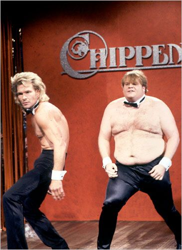 Patrick Swayze & Chris Farley compete to be Chippendales dancers (1990)