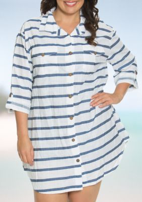 Dotti Women's Plus Size Tulum Stripe Shirt Dress -  - No Size