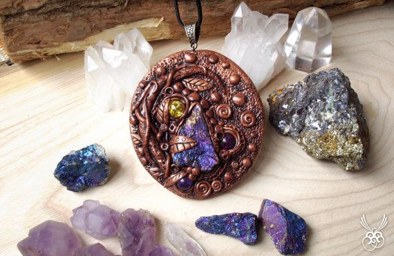 Polymer Clay and Chalcopyrite Necklace by SpiritualAmulets on Etsy
