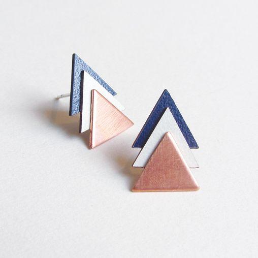 Copper Tri Earrings