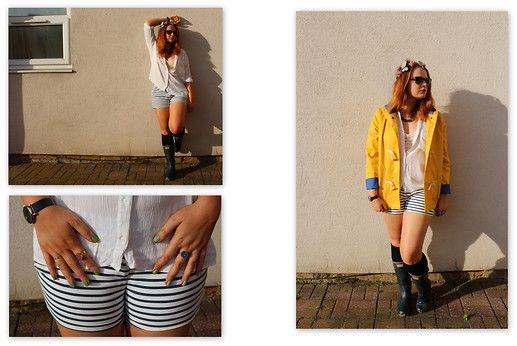 Get this look: http://lb.nu/look/6514538  More looks by Lucinda Kate Hurst: http://lb.nu/thefashionfic  Items in this look:  Joy Yellow Raincoat, Topshop Casual White Shirt, Zara Stripe Shorts, Hunter Wellington Boots   #festival #fashion #style #topshop #zara #yellowraincoat #joy #leedsfestival #whattowear