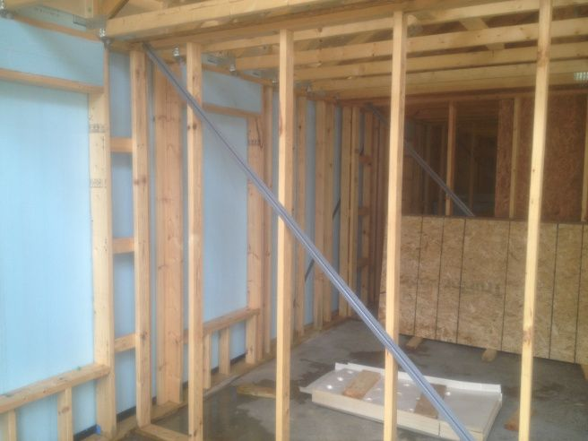 Use metal diagonal wind bracing to keep the walls rigid, since foam does not have the shear strength of plywood or OSB.