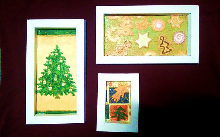 Karácsonyi fali képek papírból decoupage szalvéta technikával