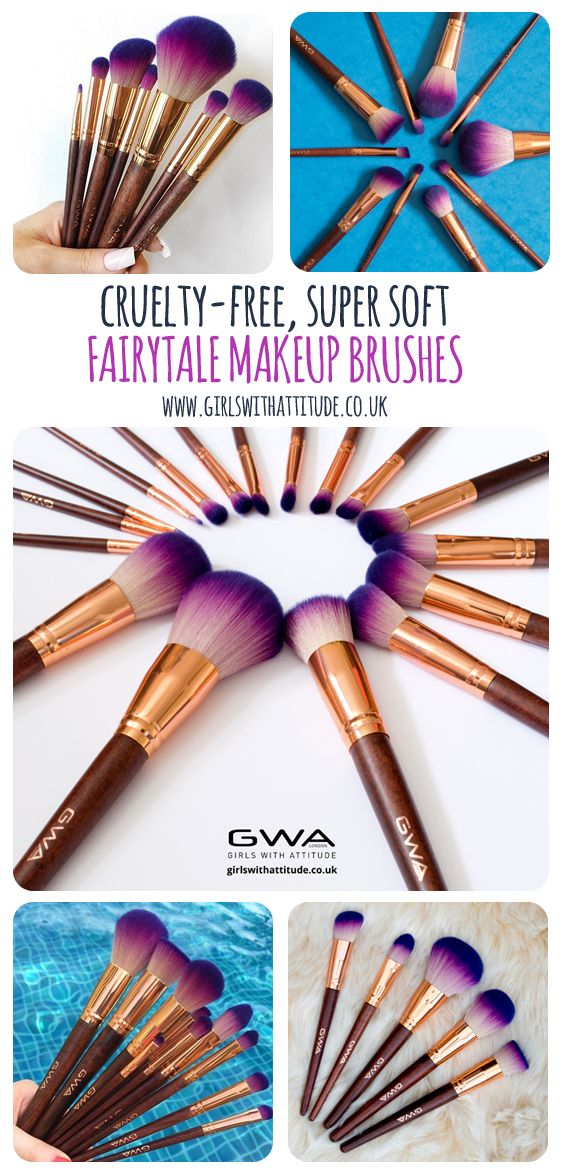 Princess Brush Goals ✨ GWA Brushes are Cruelty Free & Vegan. The Fairytale collection, made up of 17 super-soft rose gold and purple makeup brushes. #gwalondon  www.girlswithattitude.co.uk