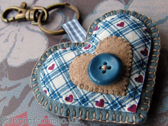 Blue Wool Felt Heart Key Ring Bag Charm