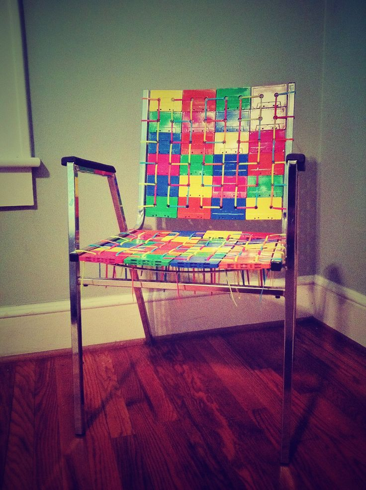 Chair made from old cassette tapes