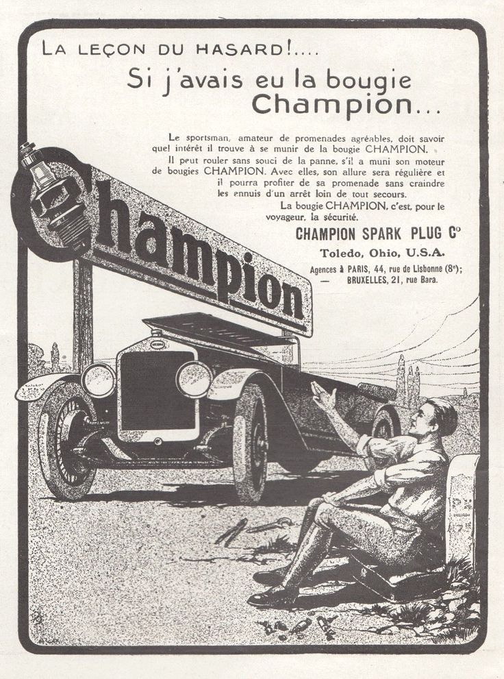 PUBLICITE BOUGIE CHAMPION ACCESSOIRES AUTO AUTOMOBILE AD 1922 -12G | eBay