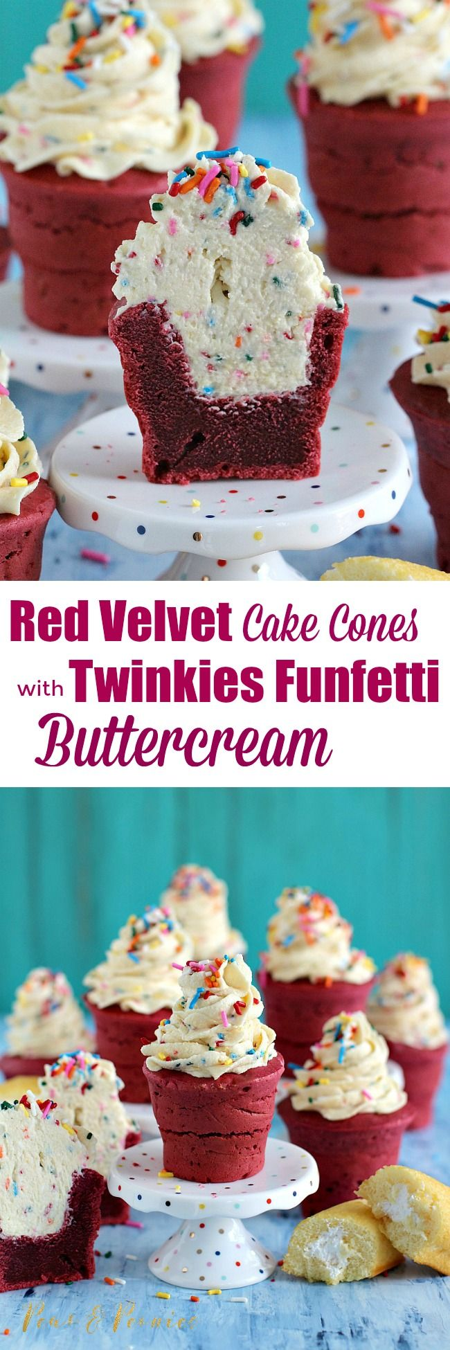 Red Velvet Cake Cone filled with a fluffy and delicious Twinkies Buttercream, made with real Twinkies and lots of sprinkles.
