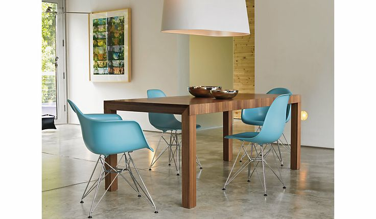 Eames® Molded Plastic Eiffel Armchair (DAR), Chrome base, designed by Charles and Ray Eames for Herman Miller.