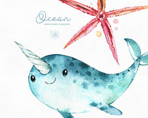 Océano. Criaturas submarinas. Acuarela Prediseñadas