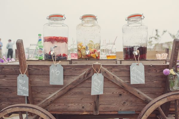 Glass Kilner Jars for Self-Serve Reception Drinks from our Rustic Drinks Cart. Available Soon! www.theferryhouseinn.co.uk