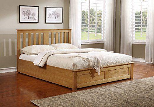[Gratuit Powerbank] Ottoman Lit Coffre - 140x190 - placage de chêne - Cadre de lit avec sommier - 665liter espace de rangement: Amazon.fr: Cuisine & Maison