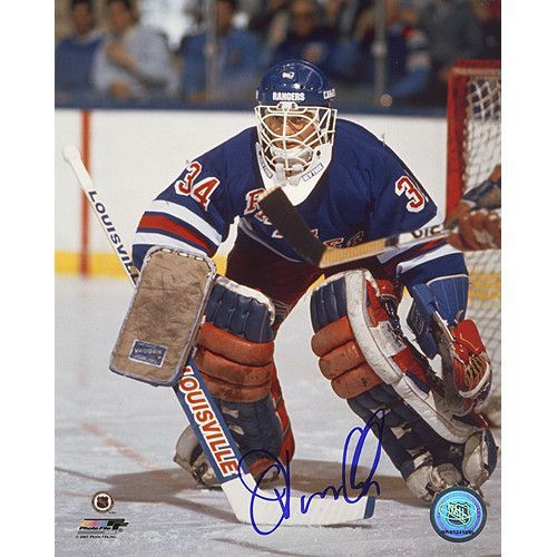 John Vanbiesbrouck Rangers Blue Jersey 8x10 Photo - John Vanbiesbrouck played for the New York Rangers Florida Panthers Philadelphia Flyers New York Islanders and New Jersey Devils during his 22-year career. Vanbiesbrouck appeared in two Stanley Cups was inducted into the United States Hockey Hall of Fame in 2007 and holds a number of NHL records including most victories as an American-born goaltender 374 most shutouts as an American-born goaltender 40 and most assists as an American-born…