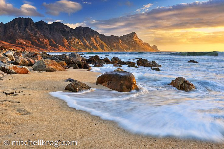 The beautiful Kogel Bay coastline in the Western Cape of South Africa at sunset. ! http://flightsafrica12.blogspot.com/2015/08/plane-tickets-africa.html