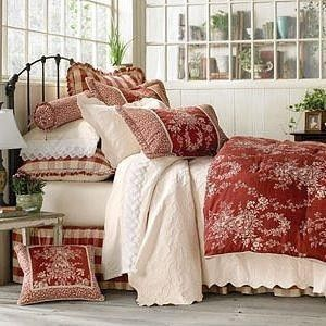 French country toile bedding home bed ensembles best sellers country house toile bedding Master bedroom with red bedding