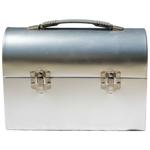 Domed silver lunch box, size:10 x 4.625 x 7.25...This  is a replica of the original lunch box. Plenty of space for all kinds of goodies! No imprint. Please see imprint options.