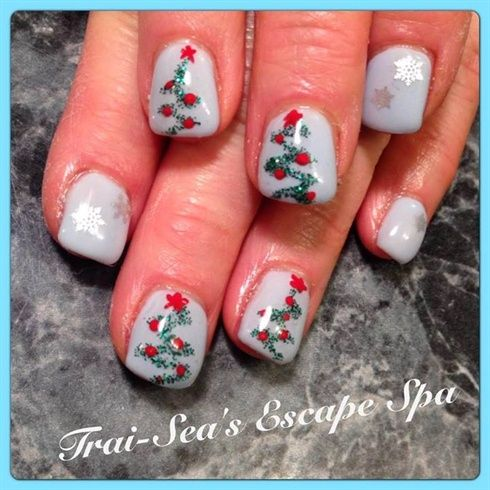 Blue with Christmas Trees by TraiSeasEscape – Nail Art Gallery nailartgallery.na…
