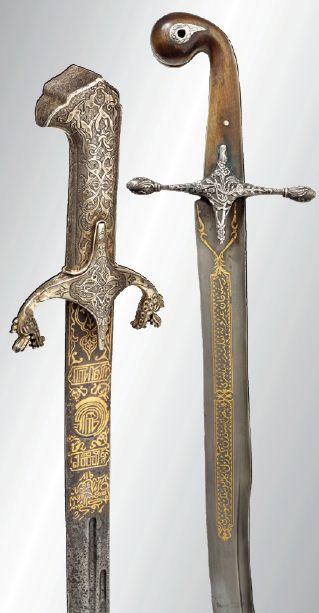 Left: an Ottoman gold-inlaid 'Karabela' (Polish sabre), 18th century - Right: a silver mounted Ottoman 'kılıç' (scimitar-sabre), circa 1820.