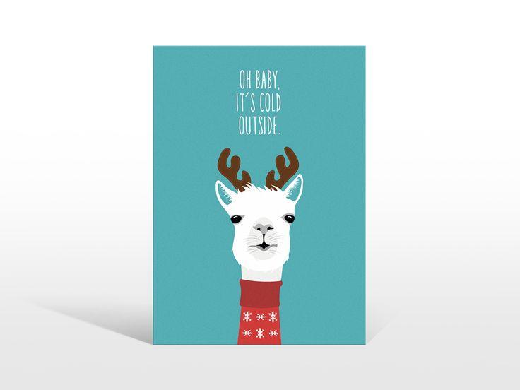 Alpaka Liebe, Postkarte, Oh Baby its cold outside, Alpaca Illustration