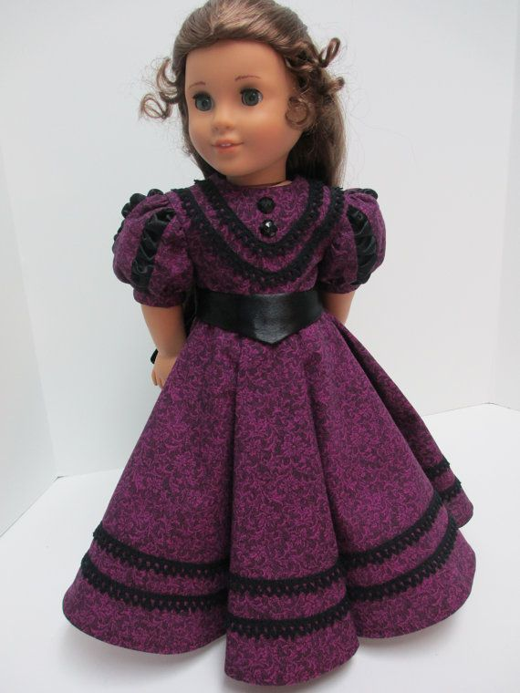 """Late 1800's """"Coming Out"""" Dress  for 18"""" American Girl dolls - Balloon sleeves have black ruching inserts of crepe backed satin, by karenstinytreasures on Etsy   $59.00"""