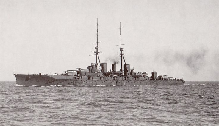 Japanese battleship Kongo as completed in 1914, she was built by the British; the last battleship order placed overseas.  Kongo served in WW2 after heavy reconstruction, being sunk by a US submarine in late 1944.   M
