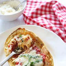 Cheesy Baked Spaghetti Squash Boats with Grilled Chicken Recipe