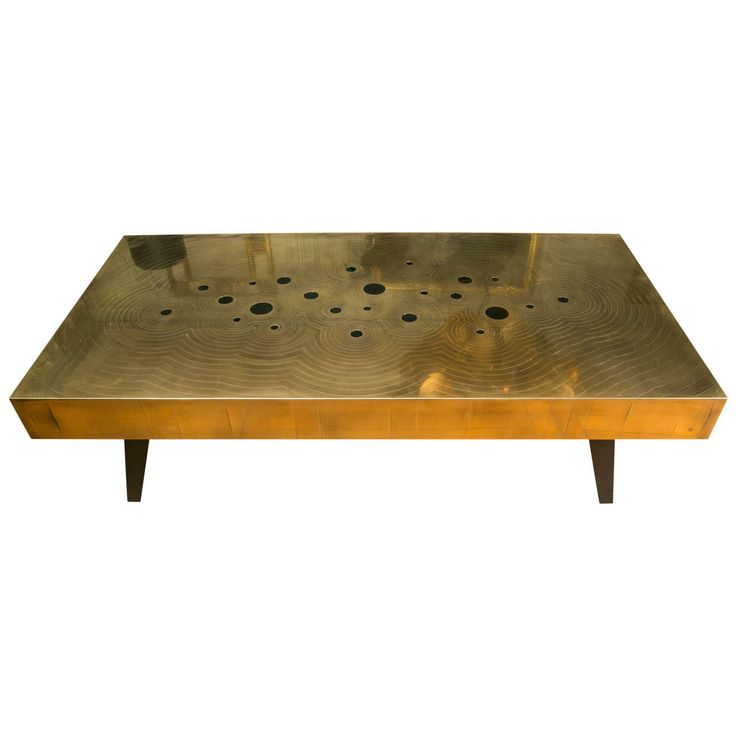 Brass And Black Jade Stones Coffee Table