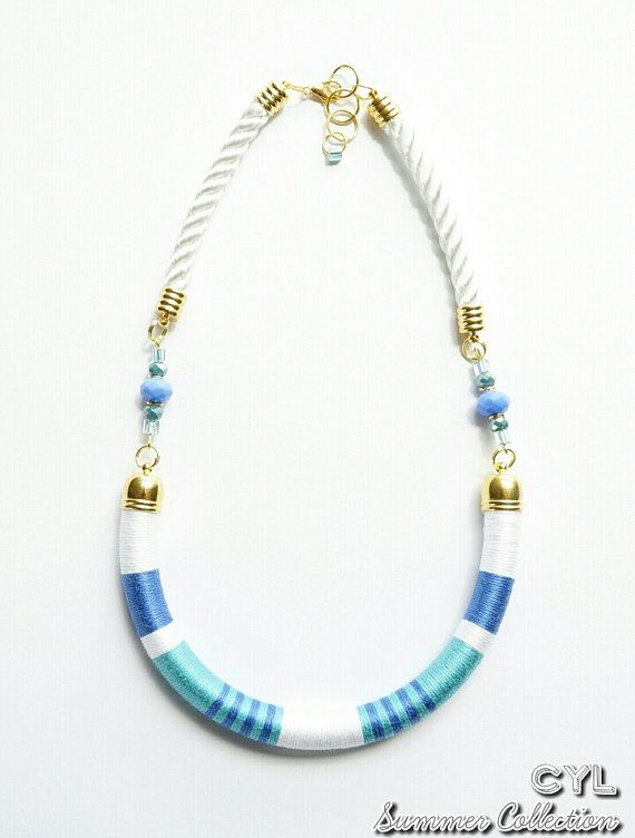 Thread wrapped beach colours rope necklace by ColoursYouLike, £37.00