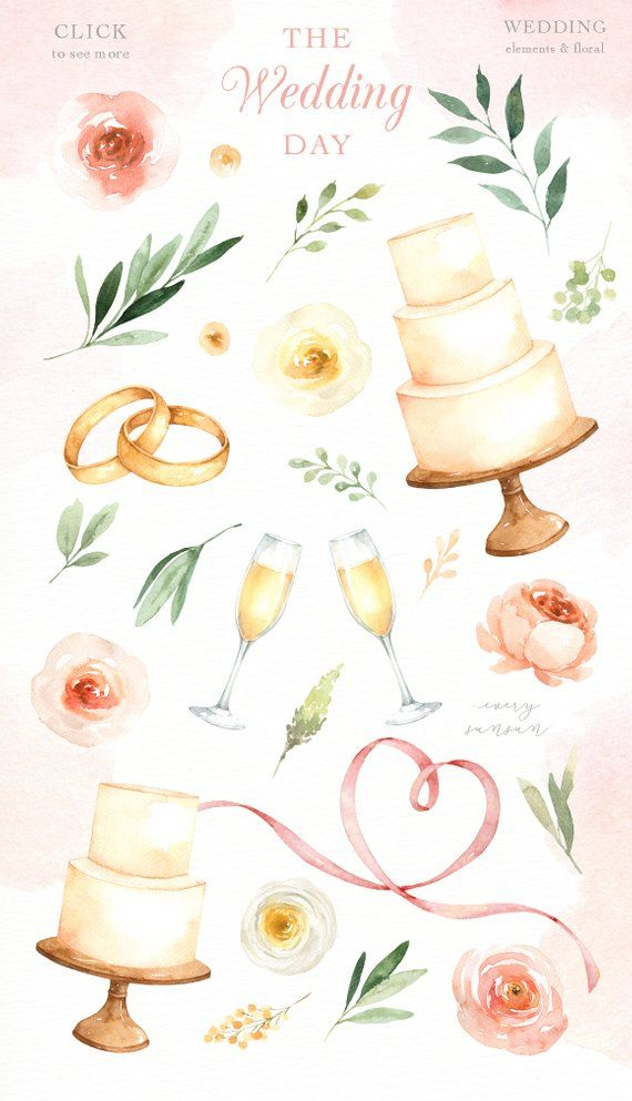 The Wedding Day Watercolor Clip Art Wedding Clipart Wedding Etsy