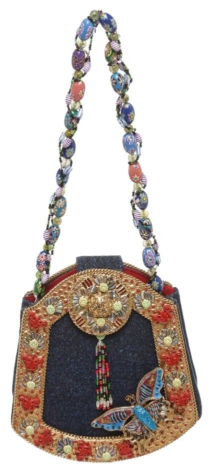 Mary Frances Blue Denim Beaded Mini Handbag Multicolor Satchel.