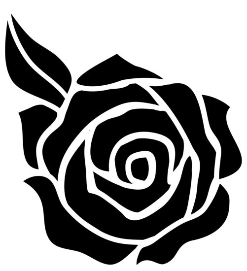 Black and White Rose Silhouette - Plan to needle felt this to the back of some gloves