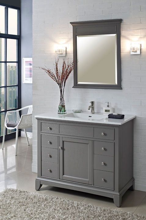 Pic On Fairmont Designs Smithfield Vanity Medium Gray ceramic top single faucet Love this for the upstairs