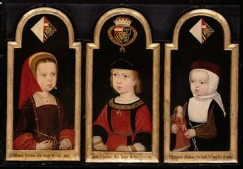 Kaiser Karl V. (1500-1558), Brustbild als Zweijähriger zusammen mit seinen Schwestern Eleonore (1498-1558) und Isabella (1501-1525)  1502
