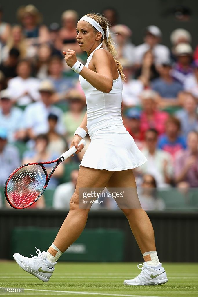 Sabine Lisicki of Germany reacts against Christina McHale of USA in her Women's Singles Second Round match during day four of the Wimbledon Lawn Tennis Championships at the All England Lawn Tennis and Croquet Club on July 2, 2015 in London, England.
