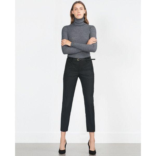 Zara Chinos With Belt (13.695 HUF) via Polyvore featuring pants, chinos pants, white pants, white trousers, white chino pants and chino trousers
