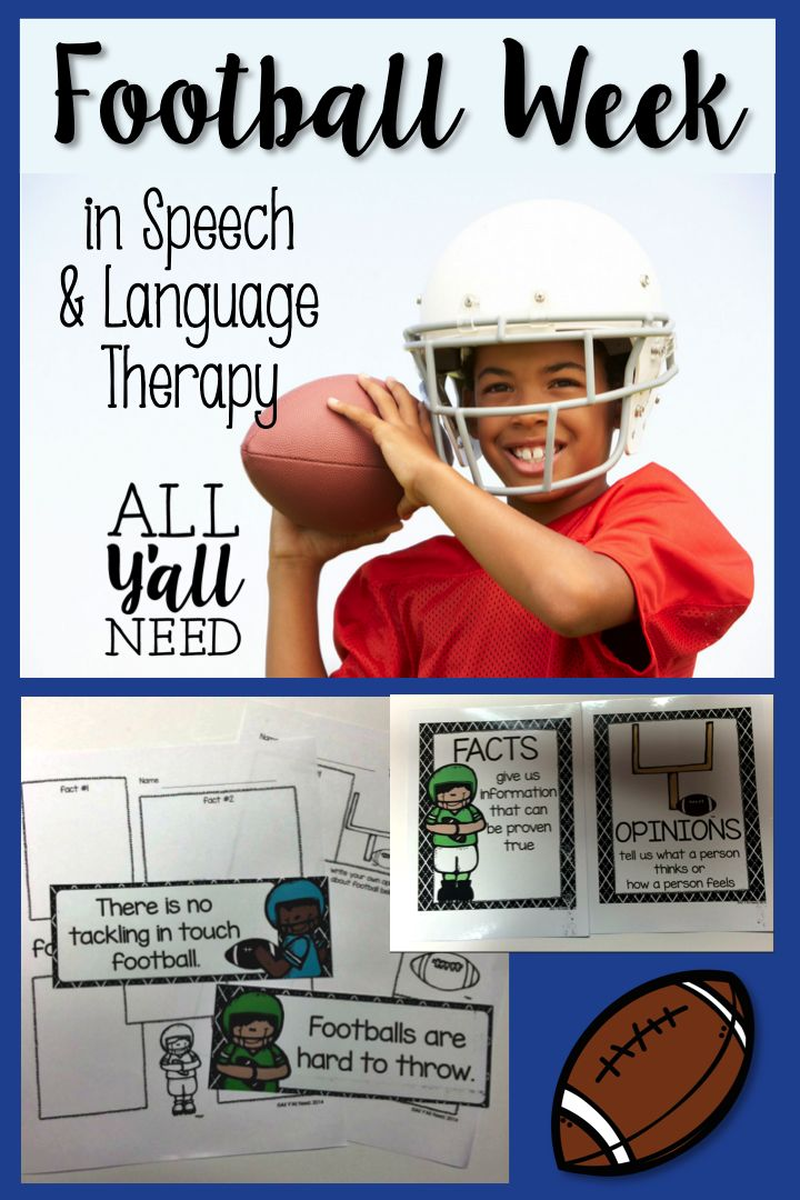 Football Week in Speech and Language Therapy from ALL Y'all Need. Pinned by SOS Inc. Resources. Follow all our boards at pinterest.com/sostherapy/ for therapy resources.