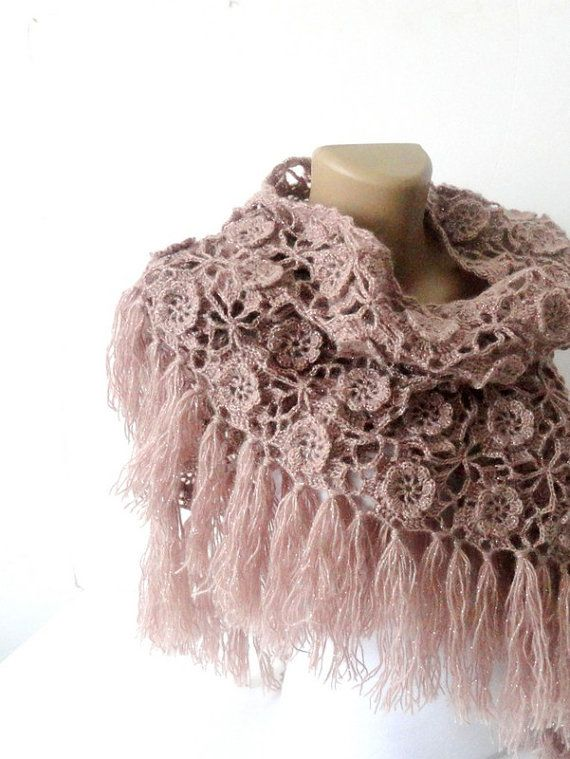 Tea rose crochet shawl scarf  winter trends  by senoAccessory, $75.00