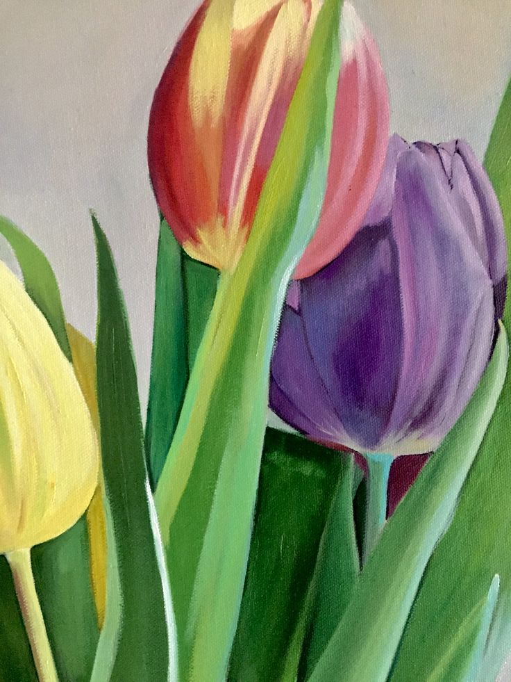Still life of tulips close up  Emerboweart.  Buy it now on my etsy > https://www.etsy.com/ie/people/emerbowe?ref=hdr_user_menu #Painting #oiloncanvas #Art #oilpainting #oil #canvas #paint #irish #irishartist #EmerBowe #tulips #flower #flowers #floral #stilllife #study