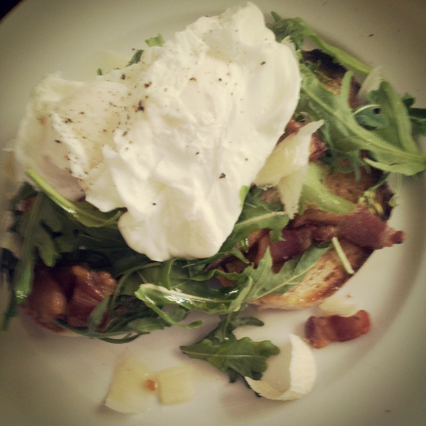 Rocket,Panchetta & Parmy Salad W/ Poached Eggs On Sourdough