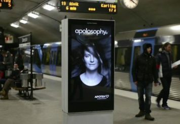 """Apotek, a pharmacy brand, has created subway platform kiosk advertisements in Stockholm, Sweden, with sensors that can tell when a train is coming. When a train arrives at the platform, the """"breeze"""" flaps around the hair of the model pictured in the ad."""
