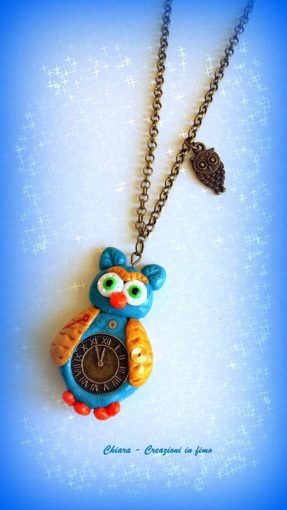 Collana in #fimo con gufetto in stile steampunk kawaii idee regalo originali, by Chiara - Creazioni in fimo, 11,70 € su misshobby.com