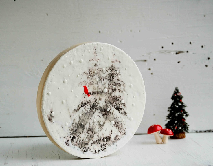 Winter tree encaustic round wood painting white snow red bird christm