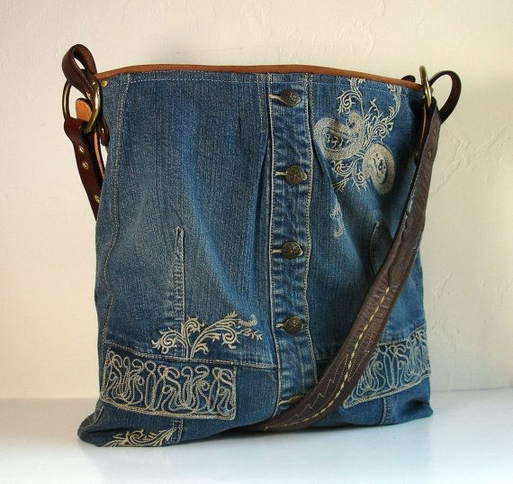 upcycled bleu jean veste grand sac Weekender