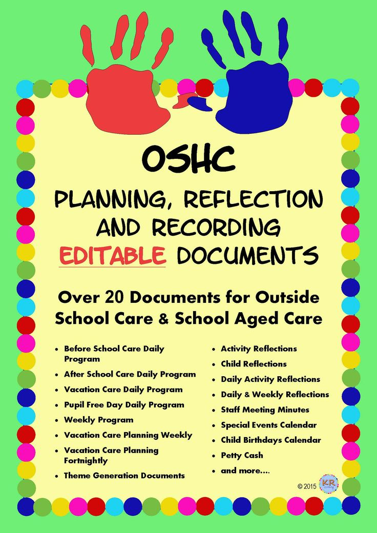 Outside School Care EDITABLE Planning, Reflection and Recording Documents for OSHC, OOSH, OOSHC, Vacation Care, VacCare, Child Care, EYLF, Early Years to keep track of MTOP outcomes and meet the National Quality Standards NQS outcomes by KR Learning