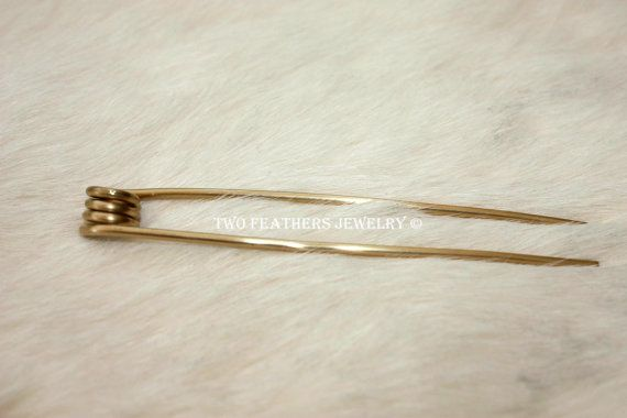 Brass Hair Fork Coiled Hair Fork Long Hair by TwoFeathersJewelry