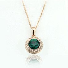 434 Italina Fashion Emerald Stone Round Pendants Full Austria Crystal Gold Necklaces for women wedding JewelryFree Shipping