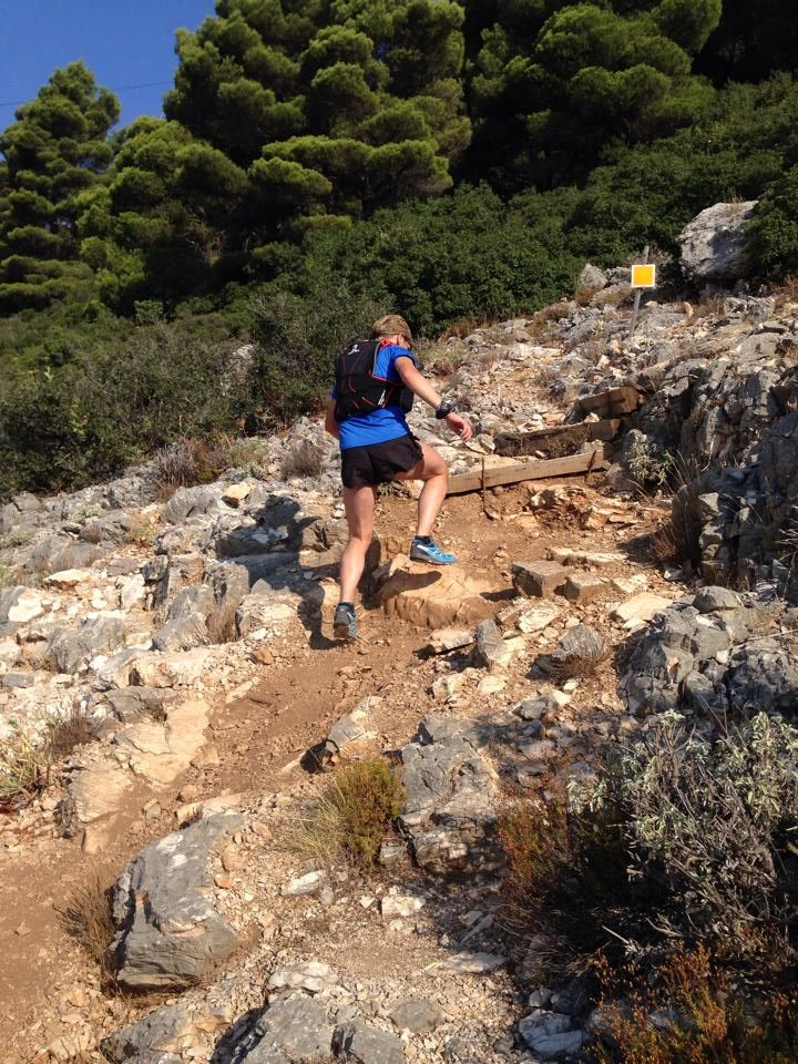"Running one of the mountains of Athens. Parnitha. Route is called ""Skalakia"" (The steps)"